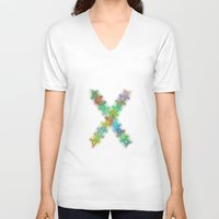 letter V-neck T-shirts featuring Letter X by David Zydd