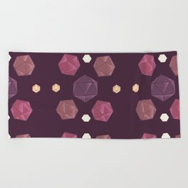 Red and Purple DnD Dice Beach Towel