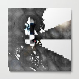 Erika in Checkered Stairwells. Metal Print