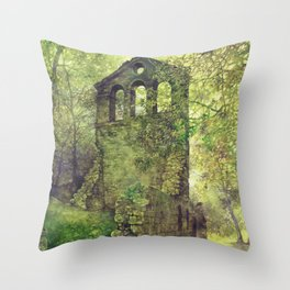 Ruins in the forest Throw Pillow