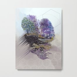 Purple Floating Island in Hexagons Metal Print