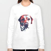 patriotic Long Sleeve T-shirts featuring Patriotic Labrador  by Rachel Barrett