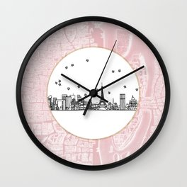 Paris, France, France, Europe City Skyline Illustration Drawing Wall Clock