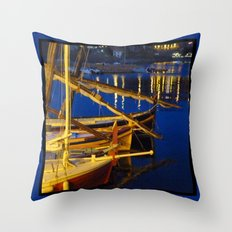 Night in the Harbour Throw Pillow