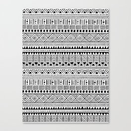 Hand Drawn African Patterns - Black & White Canvas Print