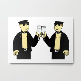 Men in leather celebrating. Metal Print