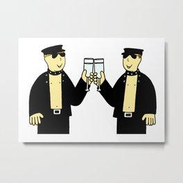Men in Leather Celebrating Cartoon Metal Print
