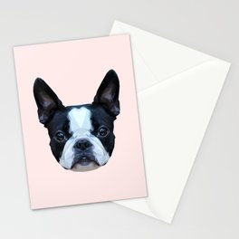 Frenchie / Boston Terrier // Pastel Pink Stationery Cards