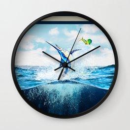 Blue Marlin Jumping After Mahi-Mahi (dolphin fish) Wall Clock
