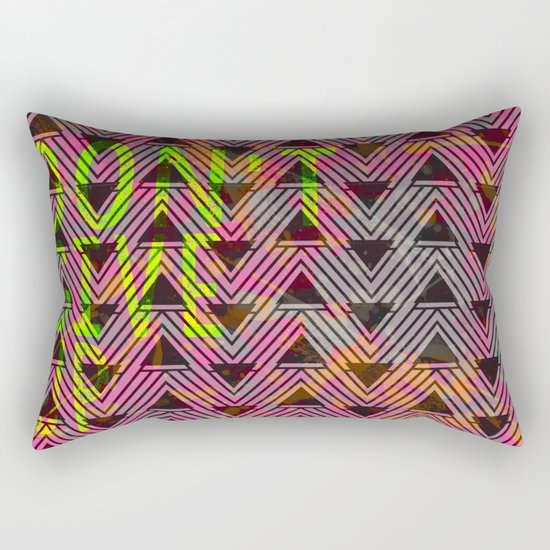 Don't Give Up Quote with Geometric Triangle Pattern Rectangular Pillow