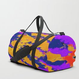 psychedelic splash painting abstract texture in red purple blue yellow Duffle Bag