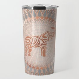 Rose Gold Gray Elephant Mandala Travel Mug