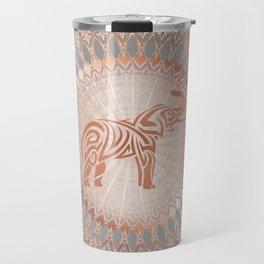 Rose Gold Gray Elephant Mandala Travel Mug