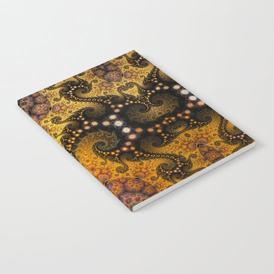 Golden dragon spirals and circles, fractal art Notebook