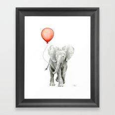 Baby Elephant Watercolor Red Balloon Nursery Decor Framed Art Print