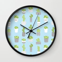 Potted Succulents & Cacti - Blue Wall Clock