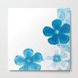 Retro 70s Flowers Blue Metal Print