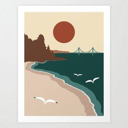 Minimalist Michigan Vintage Sunset Art Print