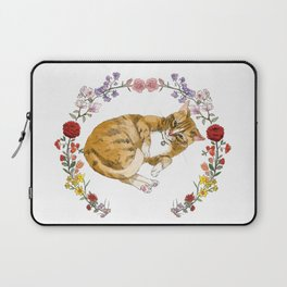 Bon the Cat in Floral Wreath Laptop Sleeve