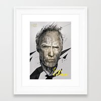 clint eastwood Framed Art Prints featuring CLINT EASTWOOD by miszkurka