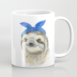 Sloth with a Blue Scarf Watercolor Coffee Mug