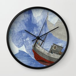 tossed to sea // jonah & the whale Wall Clock