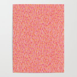 Pink Woven Burlap Texture Seamless Vector Pattern Poster