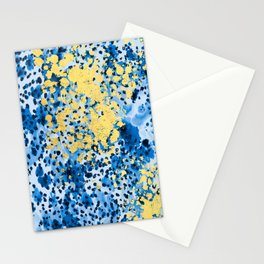 Nell - abstract gold indigo blue painting free spirit hipster boho college dorm modern minimalism  Stationery Cards