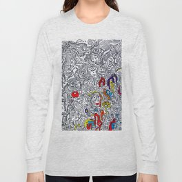Pattern Doddle Hand Drawn  Black and White Colors Street Art Long Sleeve T-shirt
