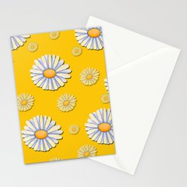 Tossed White Daisies Yellow Background Stationery Cards