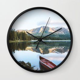 Sunrise Canoe at Lake Irwin Wall Clock