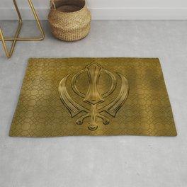 Vintage metal gold Khanda symbol Rug