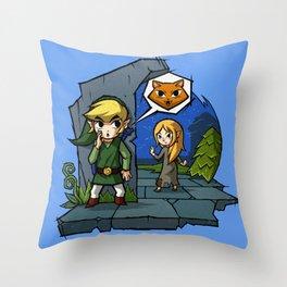 Legend of Zelda Wind Waker Meow T-Shirt Throw Pillow