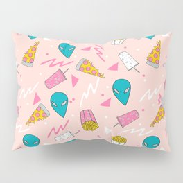 Alien outer space cute aliens french fries rad sodas pattern print pink Pillow Sham