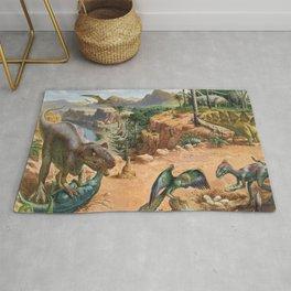 Jurassic dinosaurs fighting Rug