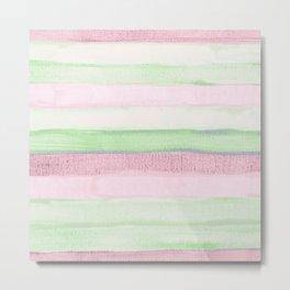 Blush pink green watercolor brushstrokes stripes Metal Print