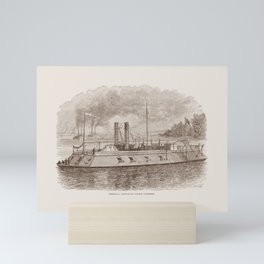 Ironclad River Gunboat Engraving - Union Civil War Mini Art Print