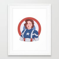peggy carter Framed Art Prints featuring Captain Peggy Carter by Charlotte Foley