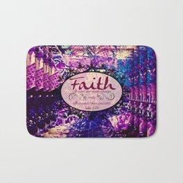 FAITH Colorful Purple Christian Luke Bible Verse Inspiration Believe Floral Modern Typography Art Bath Mat