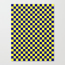 Electric Yellow and Navy Blue Checkerboard Canvas Print