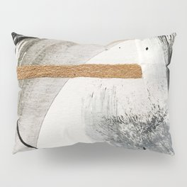 Armor [7]: a bold minimal abstract mixed media piece in gold, black and white Pillow Sham