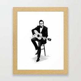 Johnny Cash Dark Ink Framed Art Print