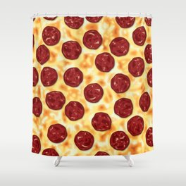 Pepperoni Pizza Pattern Shower Curtain