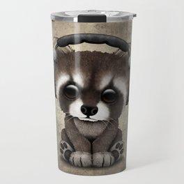 Cute Baby Raccoon Deejay Wearing Headphones Travel Mug