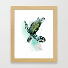 Sea Turtle, underwater scene,  green turquoise beach house design Framed Art Print