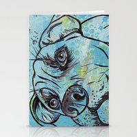 pit bull Stationery Cards featuring Blue Pit Bull Dog by WOOF Factory