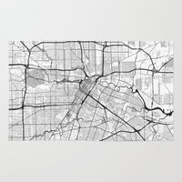 houston Area & Throw Rugs featuring Houston Map Gray by City Art Posters