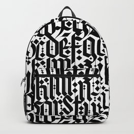 typography pattern 1 - old gothic calligraphy design, seamless Backpack