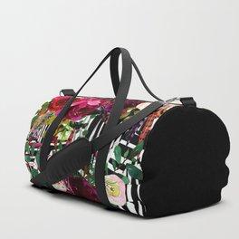 Floral On Zebra Pattern Duffle Bag