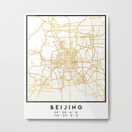 BEIJING CHINA CITY STREET MAP ART Metal Print
